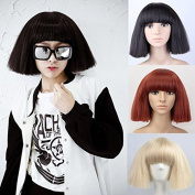 NiceToBuy Women's Short Bob Fluffy Hair Full Wigs with Bangs Heat Resistant Synthetic Hair Kinky Straight Style for Cosplay Party