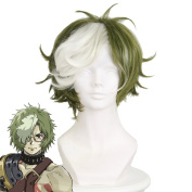 Cfalaicos Kabaneri of the Iron Fortress Ikoma Cosplay Wig Green White Mix Short Hair with Free Wig Cap