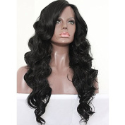 PlatinumHair 1b natural body wave synthetic lace front wigs glueless for black women synthetic hair wigs 60cm - 70cm