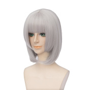 Anogol France Dress Straight Bob Wig with Bangs for Party Cosplay Layered Women's Hair Wigs DM-927