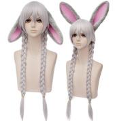 Anogol Ears+Women's Fashion Silver Grey Grey Cosplay Wig for Party Lolita Harajyuku Layered Fancy Dress Hair Wigs DM-923