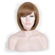 Andao Halloween Wig Women Short BOB Hairstyle Full Wigs Synthetic Hair Brown Blonde