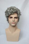 Capless Side Bangs Grey Mixed Black Colour Short Wavy Synthetic Hair Mens Wig
