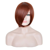 Andao Halloween Cosplay Wig Short Pixie Cropped Hair Full Wigs Synthetic Hair Burgundy Red