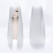 Coolsky Long Wig Inuyasha Silver Colour Stright Hair Length 80cm Halloween Cosplay Party Costume