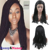 Rossy & Nancy Cheap Braided Synthetic Lace Front Wigs for Black Women Natural Black Colour