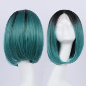 Wigshow Custom Kylie Jenner Celebrity Inspired Ombre Black Roots to Dark Green Teal Turquoise Straight Short Bob Heat Resistant Synthetic Wigs