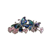Storrs Wild Pearle Handmade Abalone Shell Hair Barrette Silver Plated Butterflies HB8599048
