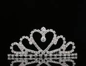 Lovelyshop Rhinestone Crystal heart Tiara with comb -Wedding Bridal Prom Birthday Pegeant Prinecess Crown hair side comb