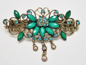Large Size Vintage Metal Alloy Rose Flower Barrette Hair Clip with Rhinestone and Beads, Bronze