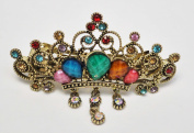 Large Size Vintage Metal Alloy Crown/ Tiara Barrette Hair Clip with Rhinestone and Beads, Bronze