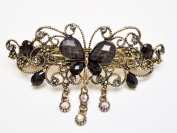 Large Size Vintage Metal Alloy Butterfly Barrette Hair Clip with Rhinestone and Beads, Bronze