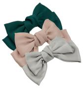 3-Pack Fashion Double-Deck Chiffon Large Solid Colour Bowknot Hair Clip Women Girls Headband Hair Bow Accessories HC2175