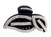 JCPeniel Elegant Style Large Size Fancy Rhinestones Claw Clip Jaw Clips Black