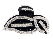 JCPeniel Elegant Style Large Size Fancy Rhinestones Claw Clip Jaw Clips Black