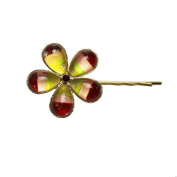 Tamarusan Hairpin Gold Rainbow Orange Flower Hair Ornaments Nickel Free
