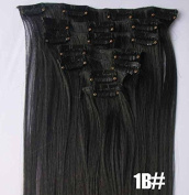 Romantic Angels® 36cm 100% Virgin Brazilian Silky Straight Human Hair Clip on in Extensions 6 Pieces Set Colour#1B Natural Black