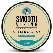 Hair Styling Clay for Men - Best Pliable Moulding Cream with Strong Hold & Matte Finish - Product for Textured, Thickened & Modern Hairstyles - Shine Free - 60ml - Smooth Viking