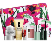 New 2016 Clinique 7 pc Makeup Skincare Gift Set Pink Floral Bag