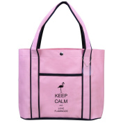 Fashion Tote Bag Shopping Beach Purse Keep Calm and Love Flamingos