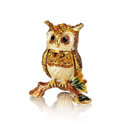 Welforth Pewter Owl on Branch Trinket Box Model No. J-543