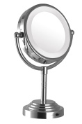 Modern Mirror 92231 Dual-Sided Led illuminated tabletop makeup mirror Silver