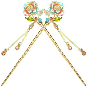 YOY Fashion Hair Decor Chinese Traditional Style Hair Sticks Shawl Pins Picks Pics Forks for Women Girls Hair Accessory 15cm with Enamel Flower Set of 2, Mixed Colour