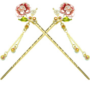 YOY Fashion Hair Decor Chinese Traditional Style Hair Sticks Shawl Pins Picks Pics Forks for Women Girls Hair Accessory 15cm with Enamel Flower Set of 2, Pink