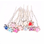 Lovef 10Pcs Large Women's Fashion Wedding Bridal Artificial Pearl Flower Crystal Hair Pins Clips Bridesmaid