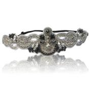 Bridal Sapphire With Crystal Rhinestone Diamond Headband With Adjustable Elastic