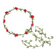 Cfrmall 2Pcs Fashion for Bohemian Style Wedding Bride Bridal Headdress Floral Flower Garland Headwear Headbands
