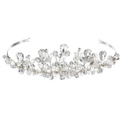 Nymph Code Bridal Simulated Pearls Tiara Hair Band Clear Crystal Flower Leaf Headband for Women Silver Plated