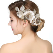 Nymph Code Bridal Lace Flower Leaf Clear Crystal Hair Band Headband for Women Gold Tone