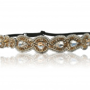 Bridal Champagne Teardrop and Circle Crystal Rhinestone Diamond Headband Adjustable Elastic