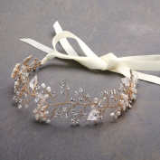 Mariell Freshwater Pearl and Crystal Gold Bridal Headband Hair Vine with Ribbons and Hand-Painted Leaves