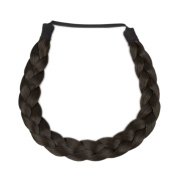 Milano Collection PREMIUM Braided Hairband 1.3cm Inch Thick - Dark Brown