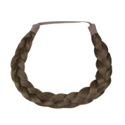 Milano Collection PREMIUM Braided Hairband 1.3cm Inch Thick - Medium Brown