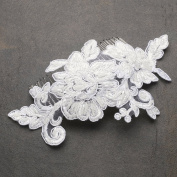 Mariell Romantic English Rose Hand Made Ivory Lace Wedding Comb