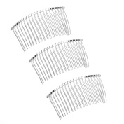 Lovef 10 Pcs 20 Teeth Comb Silver Fancy DIY Metal Wire Hair Comb Clips Bridal/veil/crafts 7.6cm by Velvet Bridal