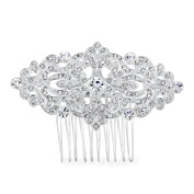 Nymph Code Clear Crystal Bridal Wedding Decorative Hair Side Combs Clips For Women Silver Tone