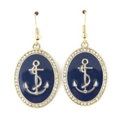 Simple Cool Gold-tone Navy Blue Oval Anchor Dangle Drop Earrings
