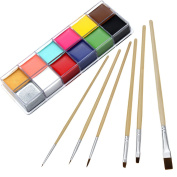 CCBeauty Professional Face Paint Oil 12 Colours Body Painting Art Party Fancy Make Up + Brushes Set,#1