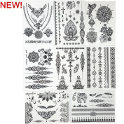 GIFT!! New Tastto 8 Sheets Henna Body Paints Temporary Tattoos Black Lace Stickers for Girls and Women with GIFT