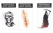 Ganz Removable Body Tattoos Reapers and Skin Stitches Set of 3