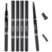 CCbeauty Waterproof Eyebrow Pencil with Brush Twin Head Rotating Pencil Set,5 colours