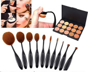 Yoshioe 10pcs Synthetic Nylon Hair Makeup Cosmetic Foundation Brush Set Black + 15-Colour Professional Non-toxic Cosmetic Concealer Palette