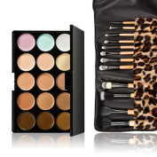 Fenical 15 Colours Makeup Concealer Palette with 12pcs Leopard Brushes
