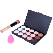 Maquita 15 Colours Cream Makeup Concealer Palette + 1PC Water Sponge Puff + 1PC Oblique Head Powder Brush