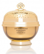 Le Royal 24K Gold Infused Night Face Cream, 50ml Anti Ageing Collagen Moisturiser