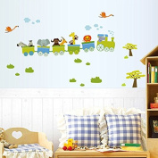 B & Y Decorative Peel Vinyl Wall Sticker Kids Baby Rooms Nursery Removable Decals - Happy Roller Coaster